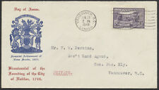 1949 #283 Halifax Bicentenary FDC, NS Coat of Arms/Red Text Cachet, Vancouver BC