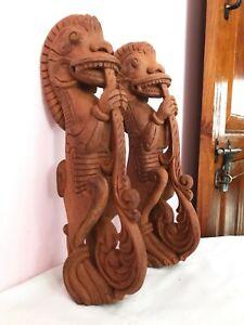 Temple Art Dragon Wall Hang Bracket Corbel Yali Vintage Wooden Sculpture Statue