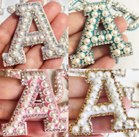 Pearl Letter Patches Rhinestone Sparkle Alphabet Embroidery Sew on Iron on A-Z