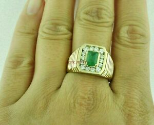 Natural Emerald Gemstone with Gold Plated 925 Sterling Silver Men's Ring #3081