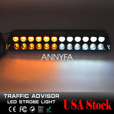12LED Emergency Warning Dash Visor Flash Strobe Light Bar Amber&White US Bright