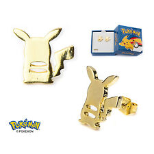 AUTHENTIC Pokemon Pikachu Stud Earrings Gold PVD Plated Stainless Steel