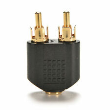 TOP Gold Plated 3.5mm Female Stereo To 2 RCA Male Audio Jack Connector AdapterCA