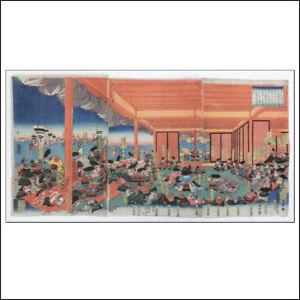 UTAGAWA YOSHITORA ORIGINAL UKIYO-E JAPANESE TRIPTYCH WOODBLOCK PRINT EDO PERIOD