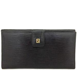 FENDI Black Leather Long Bifold Wallet /C0416