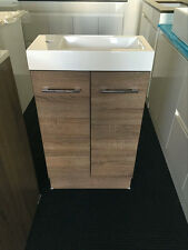 500mm x 250mm Bathroom Vanity Unit Polymarble Top Walnut Woodgrain Cabinet.
