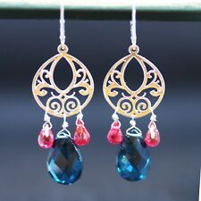 London Blue Topaz Ruby Long Chandelier Earrings Sterling Silver 4th annniversary
