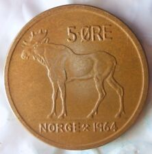 1964 NORWAY 5 ORE - Excellent Vintage Coin - FREE SHIPPING - Norway Bin #4