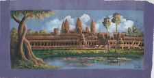 "Original Oil Painting from Cambodia  -  Scene with Angkor Wat  30"" x 15""    5308"