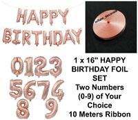 """16"""" Rose Gold Happy Birthday Foil Balloons 0-9 Numbers Age Party Decor Baloons"""