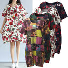 Women Summer Short Sleeve Vintage Sundress Party Plus Size Floral Boho Dress