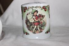 Royal Worcester fraise fleur fées Saving Jar Money Box Flower Fairies Strawberry