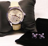 Pierre Cardin Damenuhr und Ohrringe Ivry Femme Steel beige  PC107732F02 Set