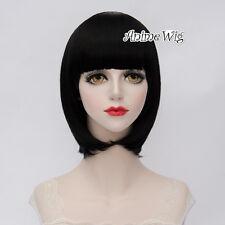 For Hozuki's Coolheadedness Lolita Black Short 35CM Bob Cosplay Wig with Bangs