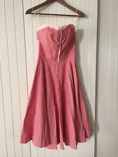 Amazing Vintage Retro 100% Cotton Gingham Strapless 50's Rockabilly Corset Dress