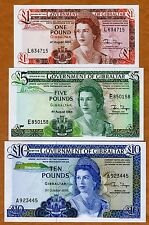 SET GIBRALTAR, 1;5;10 pounds, 1986-1988, Picks 20e-21b-22b, QEII, UNC