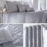 Grey Duvet Covers Sequin Diamante Satin Sparkle Bling Quilt Cover Bedding Sets