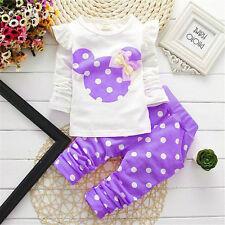 2 Stück Mädchen Kleidung Kinder Baby gepunktet Minnie T-Shirt Tops+Hose Sets