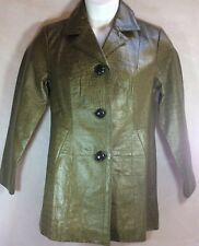 CHICO'S Leather Olive Green Faux Crocodile Trench Coat Size Small 6 NWT