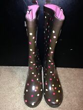 Women's Capelli Brown Polka Dot Rain Boots Size 6