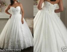 Custom White/Ivory Wedding Dress Bridal Gown Plus Size:14 16 18 20 22 24 26 28
