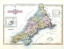 Old Historic Map of Cornwall G.Ellis Vintage 1819 Repro Art Print Poster A3 A4