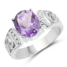 925 Sterling Silver Wedding Engagement Ring 2.64 Ct Genuine Pink Amethyst