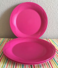 "Tupperware Open House Dessert Plates 8"" Set of 4 Pink New"