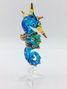 Miniature sea horse Glass Blown animals figurine Art glass figurine dollhouse