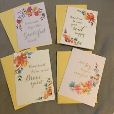 Papyrus blank cards with floral positive sayings x4