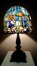 Vintage Tiffany Style Lotus Lily 850+ Pc Stained Glass Shade / Ornate Base Lamp