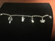 Juicy Couture Charm Bracelet Scotty Dog Crown Key Bling NEW