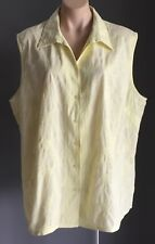 TARGET Ladies Pale Yellow Floral Broderie Anglais Sleeveless Shirt Plus Size 26