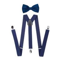 Fashion Men's Braces Suspenders Set Classic Pre-tied Bow Tie Elastic Y-Back