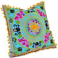 "Christmas Decor Uzbek Cushion Cover Suzani Hand Embroidered Pillow Cases 16x16"""