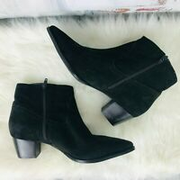 Seychelles Black Suede Leather Ankle Zip Boots Bootie Womens Size 7.5 M ~ NWOB