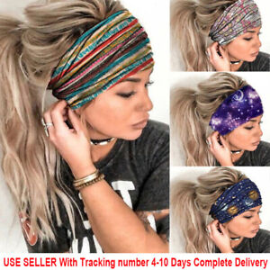 Womens Wide Elastic Headband Turban Hair Band Sports Running Yoga Gym Head Wrap