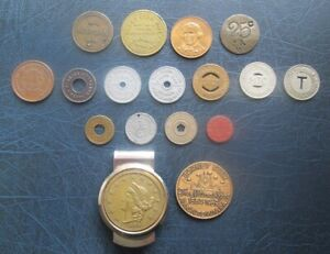 Lot of Vintage Old USA Tokens - Stores, Transport, Ferry Tokens etc