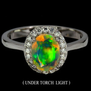 925 STERLING SILVER SOLID  RING SZ 4-12 FIRE OPAL GEMSTONE FULL ADULARESCENCE D