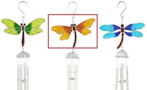 Gold Colourful Dragonfly Windchimes - Stained Glass Spiral Pipes Sun Catcher