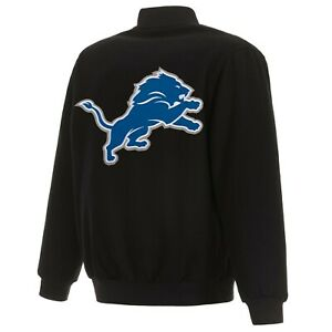 NFL Detroit Lions JH Design Wool Reversible Jacket Black Embroidered Logos