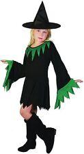 Sorcière Noir/Vert (Chapeau Inclus) (M), Enfants Costume Enfant, Halloween