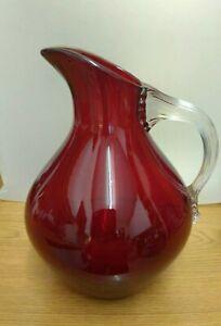 Vintage Whitefriars glass beak jug with celery handle. Baxter.