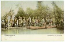 1910 Ojibway Indians Canoeing In Canada