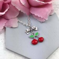 Red Cherry Necklace, Rockabilly Style Jewellery, Silver Charm, Vintage, Pin Up