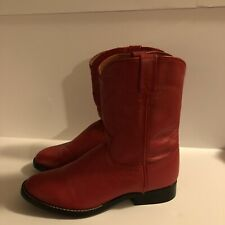 Acme Red Leather Boots Size 6 Women