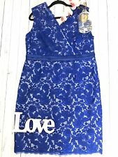 Jacques Vert Size 20 blue lace fitted party dress floral mother of the bride VGC