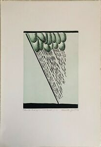 Marcello Guasti xilografia Nuvola e Pioggia 66x45 firmata numerata anno 1995