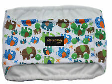 MEDIUM LONG - POPPERS WATERPROOF DOG BELLY BAND NAPPY + 2 WASHABLE PADS ELEPHANT