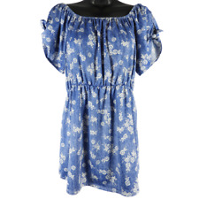 Duetime Maternity Blue & White Floral Short Sleeve Blouse Women's Maternity XL